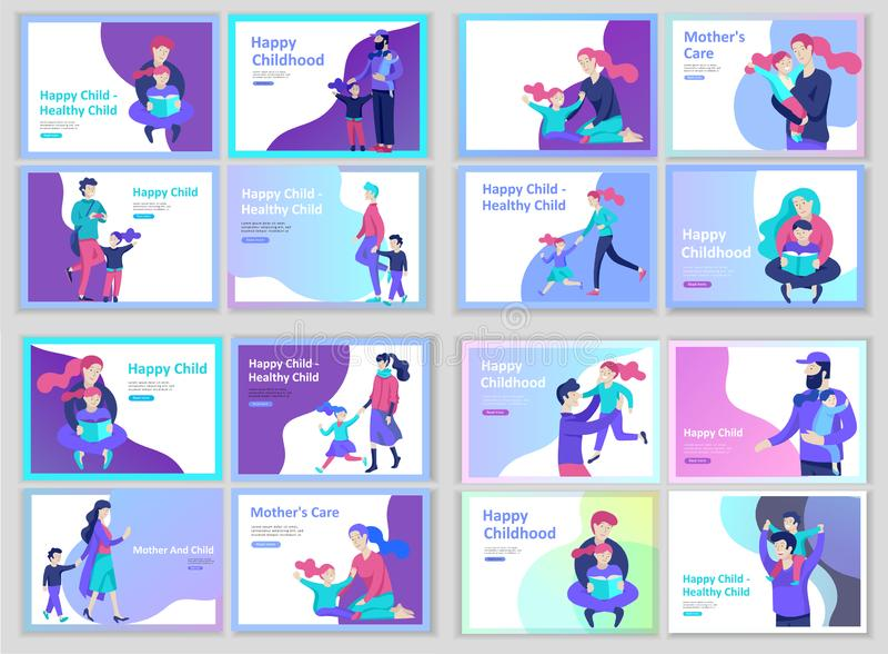 设置登陆的页模板幸福家庭,旅行和精神疗法,家庭医疗保健,母亲的物品娱乐 库存例证
