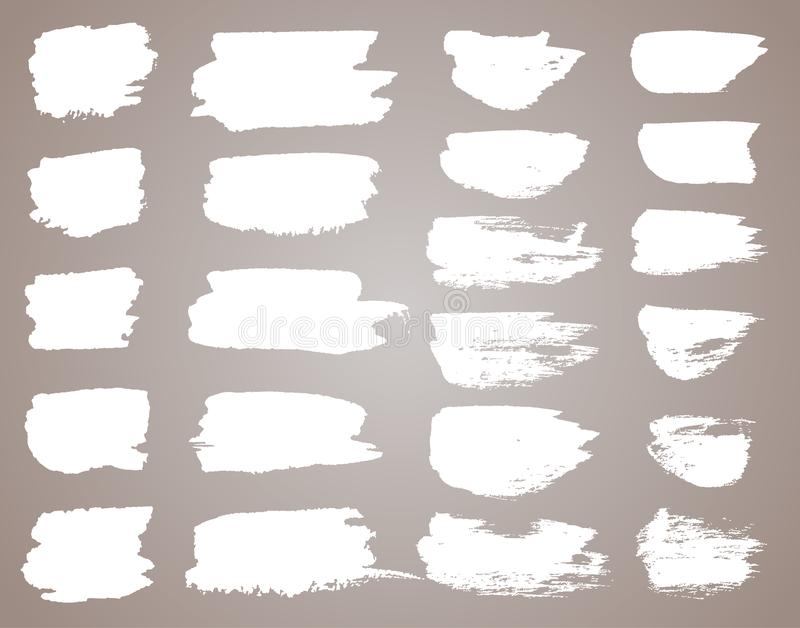 设置白色墨水传染媒介污点 传染媒介黑色油漆、墨水刷子冲程、刷子、线或者圆的纹理 肮脏艺术性 皇族释放例证