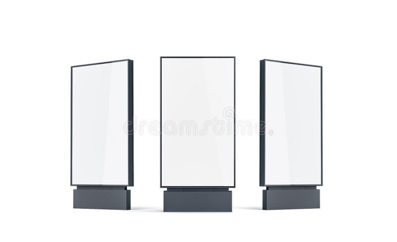设置的空白的白色定向塔嘲笑,隔绝, 向量例证