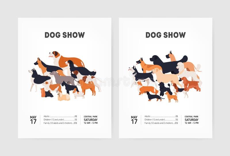 设置相应一致狗展示与各种各样的品种逗人喜爱的滑稽的小狗和地方的飞行物或海报模板文本的 皇族释放例证