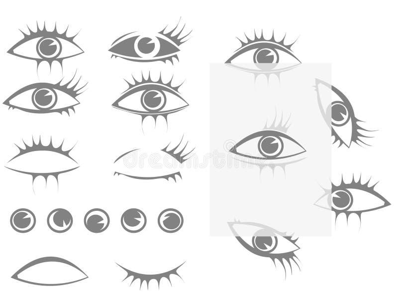 设置眼睛和睫毛 库存例证