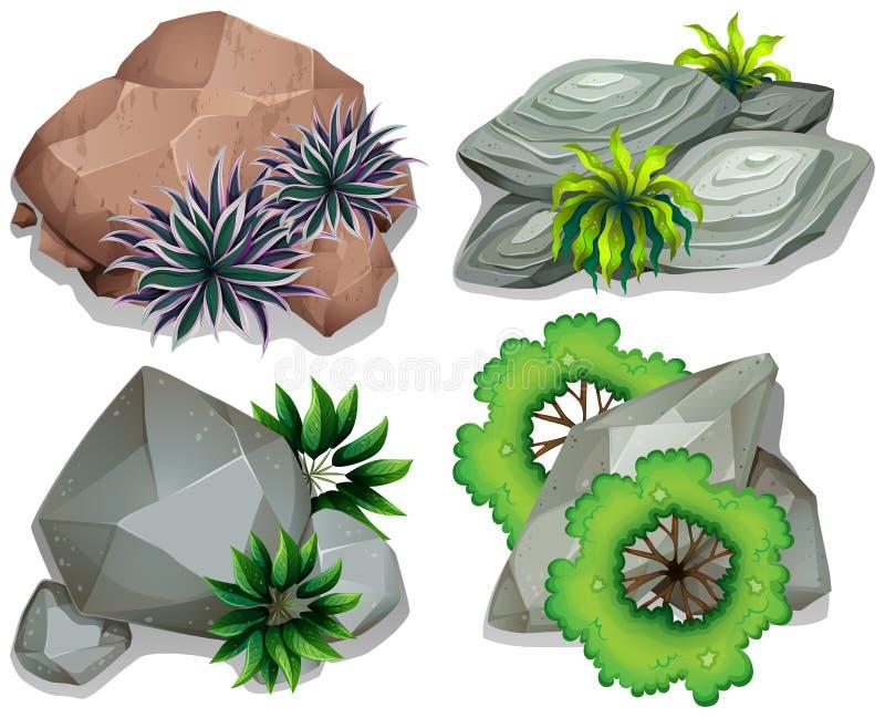 设置石头和岩石 库存例证