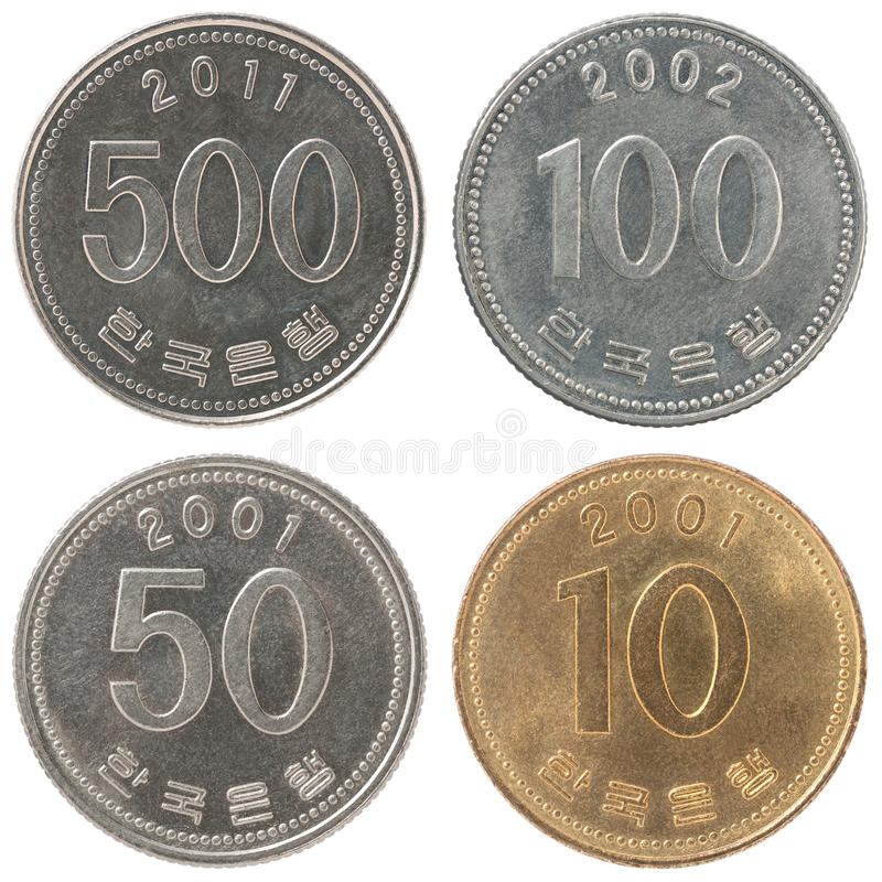 设置硬币韩国人被赢取 免版税库存照片