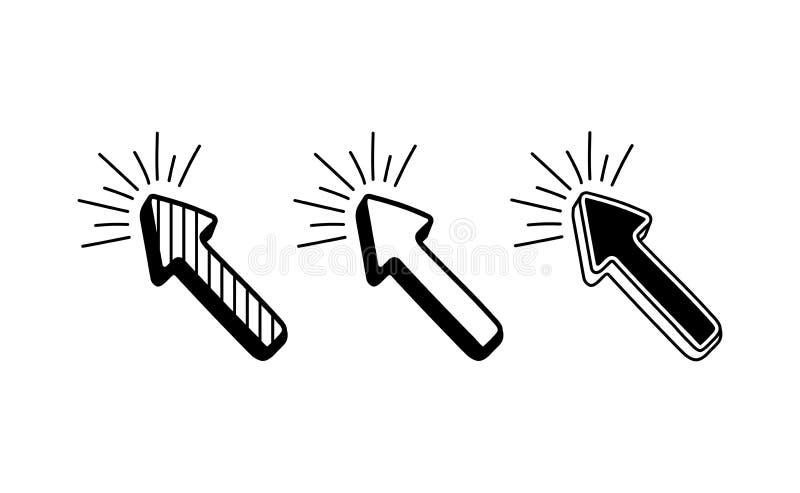 设置社会媒介的手拉的箭头 在减速火箭的可笑的样式的传染媒介例证 库存例证