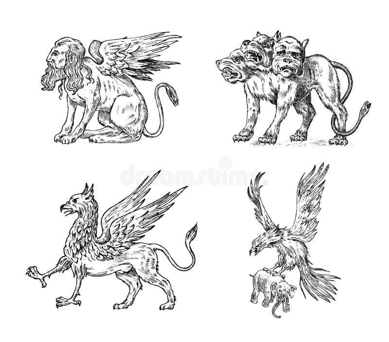 设置神话动物 赛伯乐狮身人面象格里芬神话蛇怪鸟 希腊生物 刻记手拉 皇族释放例证
