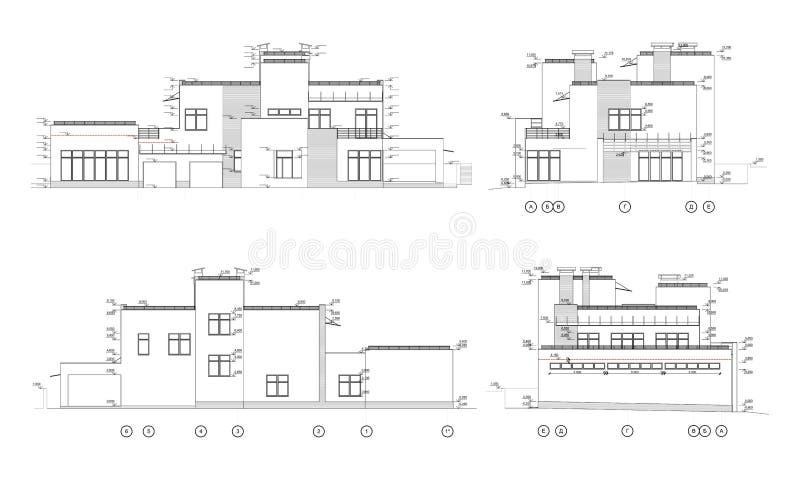 设置私有房子门面,详细的建筑技术图画,传染媒介图纸 向量例证
