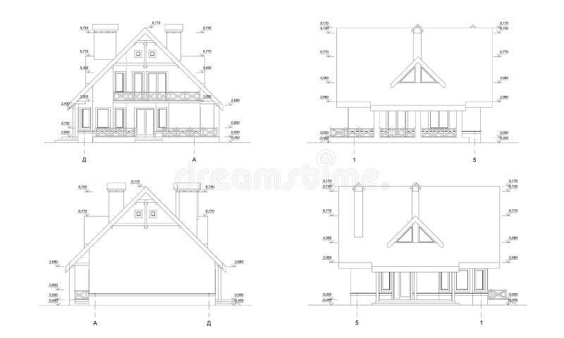 设置私有房子门面,详细的建筑技术图画,传染媒介图纸 库存例证