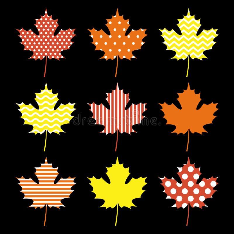 设置秋天枫叶 向量例证