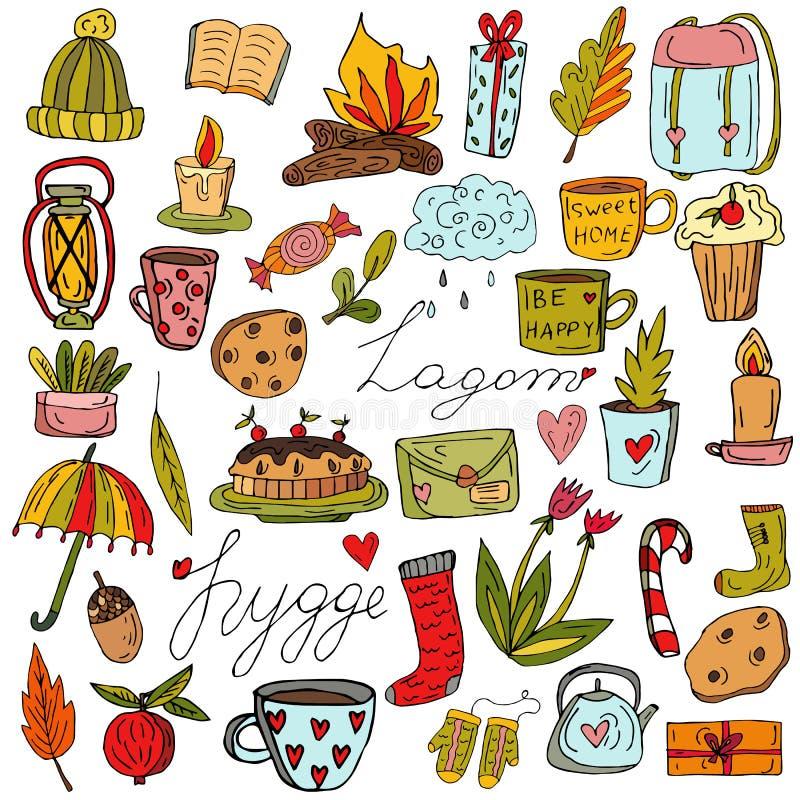 设置秋天,舒适元素 叶子、橡子和蛤蟆菌 用手被画的元素的汇集 r 斯堪的纳维亚语 皇族释放例证
