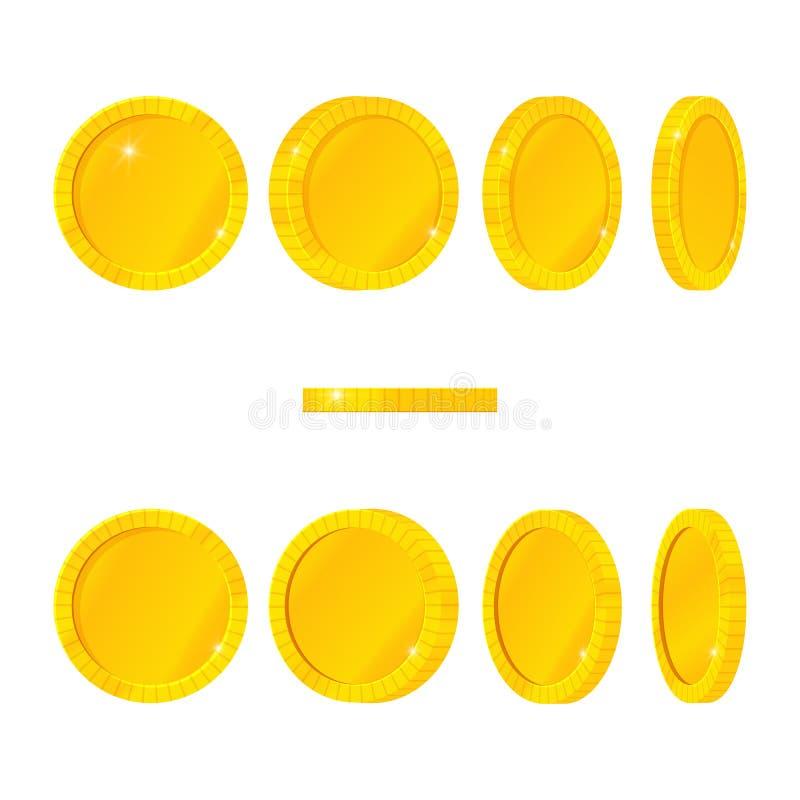 设置空白的金币用不同的位置 传染媒介动画片象 转动,飞行,下跌 海盗珍宝 皇族释放例证