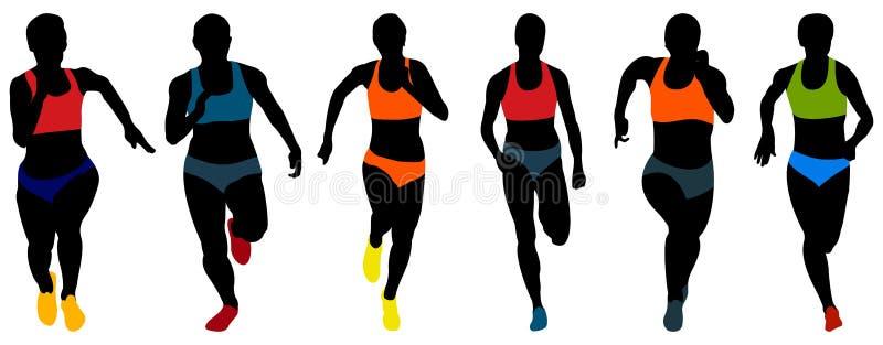 设置竞技妇女赛跑者 向量例证