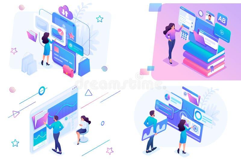 设置等量在网络购物,统计分析,数字营销题目  对网站和流动网站developmen 库存例证
