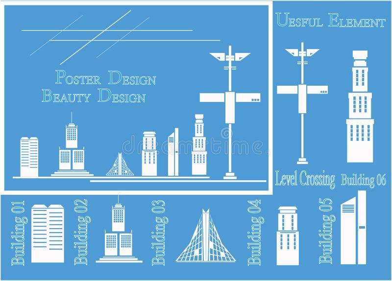 设置等量城市大厦:私有房子,摩天大楼,不动产,公共建筑,旅馆 修造的传染媒介例证 库存例证