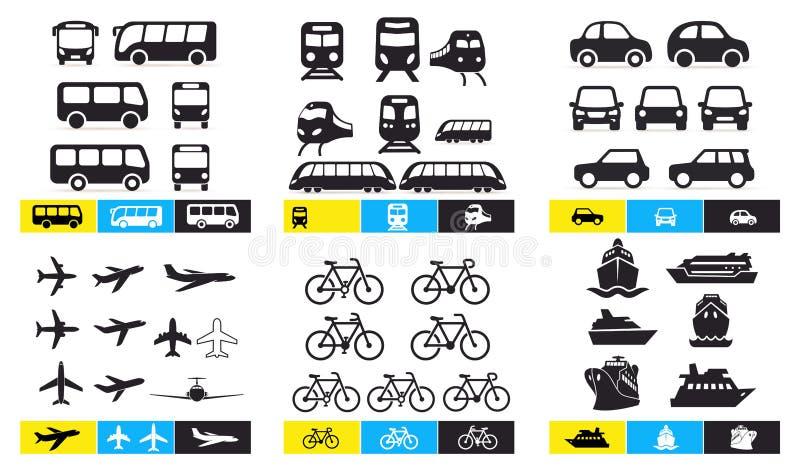 设置简单的单色车和运输相关象 公共汽车,火车,avto,飞机,自行车,船,轮渡 设计您 皇族释放例证