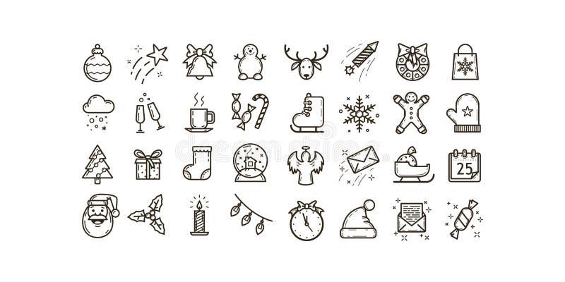 设置简单的线艺术传染媒介在圣诞节和新年假日题材的概述象  向量例证
