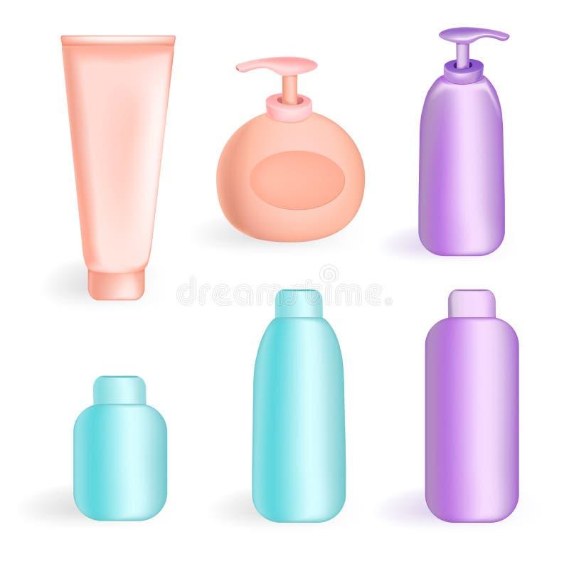 设置管和瓶子在颜色 向量例证