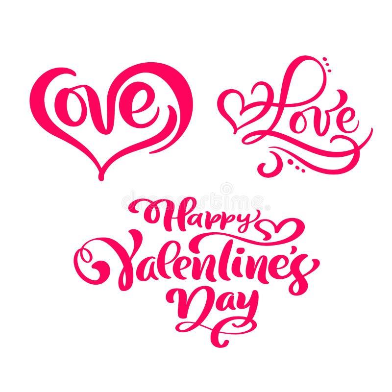 设置红色书法文本愉快的情人节和爱 传染媒介情人节手拉的字法和心脏 节假日 向量例证