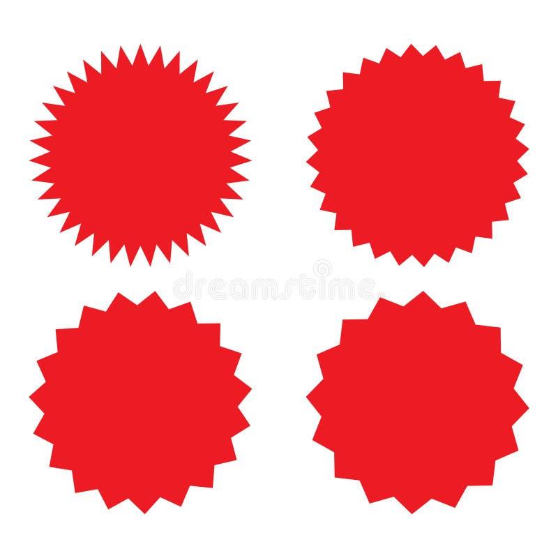 设置红色减速火箭的空白的starburst,镶有钻石的旭日形首饰的徽章 也corel凹道例证向量 皇族释放例证