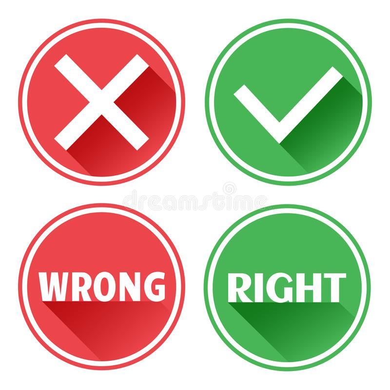 设置红色和绿色象按钮 拒绝和确认 错误和正确 ?? 库存例证