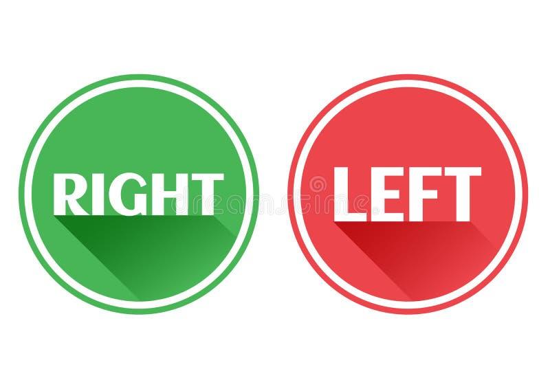 设置红色和绿色象按钮 正确和左 ?? 向量例证