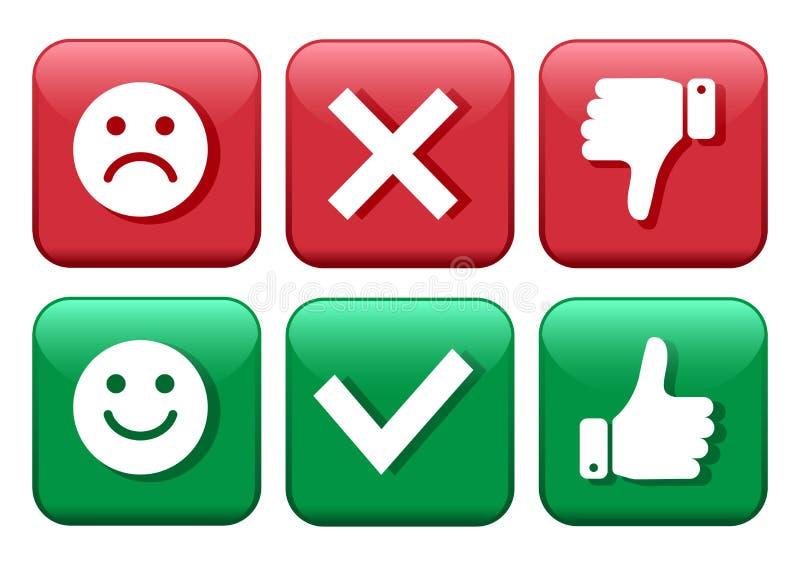 设置红色和绿色象按钮 消极面带笑容的意思号正面和 确认和拒绝 是和不 赞许和 库存例证