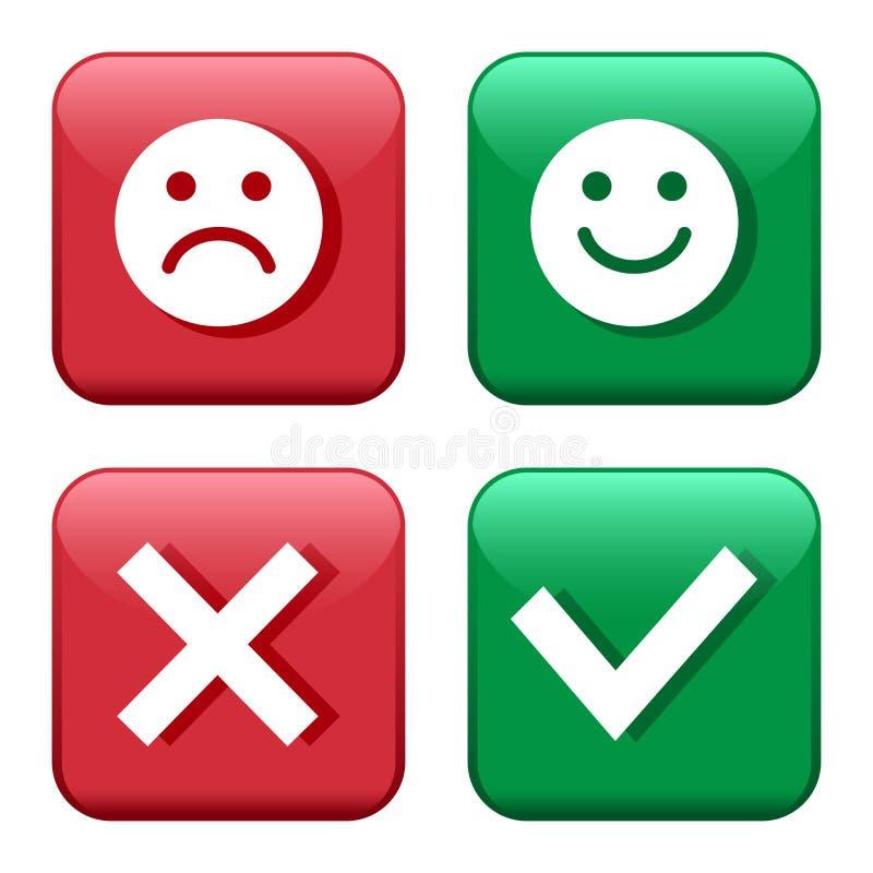 设置红色和绿色象按钮 消极面带笑容的意思号正面和 确认和拒绝 是和不 ?? 向量例证