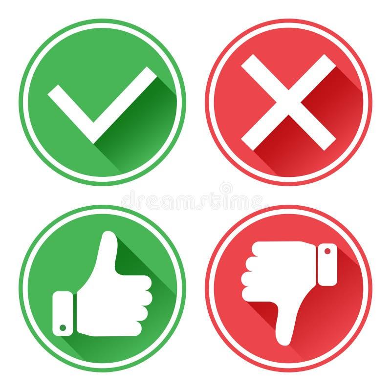 设置红色和绿色象 E 我喜欢并且烦恶 是和不 ?? 向量例证