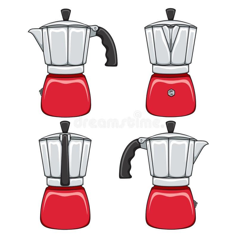 设置红色喷泉咖啡壶的彩色插图 被隔绝的传染媒介对象 向量例证