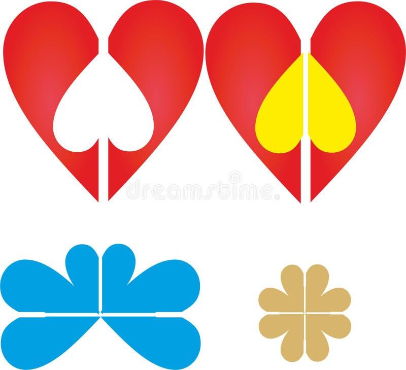设置红色心脏商标、传染媒介和例证 皇族释放例证