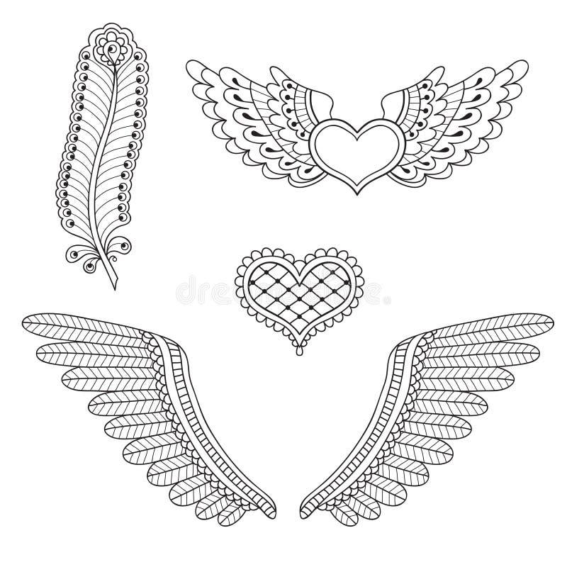 设置纹身花刺心脏,翼,羽毛 皇族释放例证