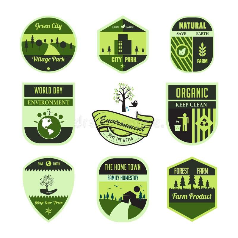设置绿色、叶子、环境、世界天、徽章或者象征在被隔绝的传染媒介 皇族释放例证