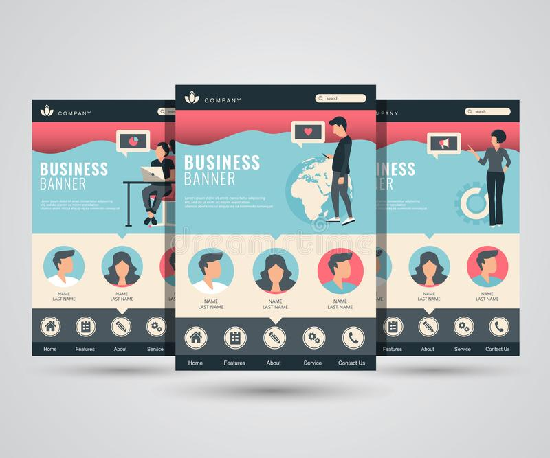 设置网页社会媒介、网上行销和通信的设计模板 网的现代传染媒介例证概念 库存例证