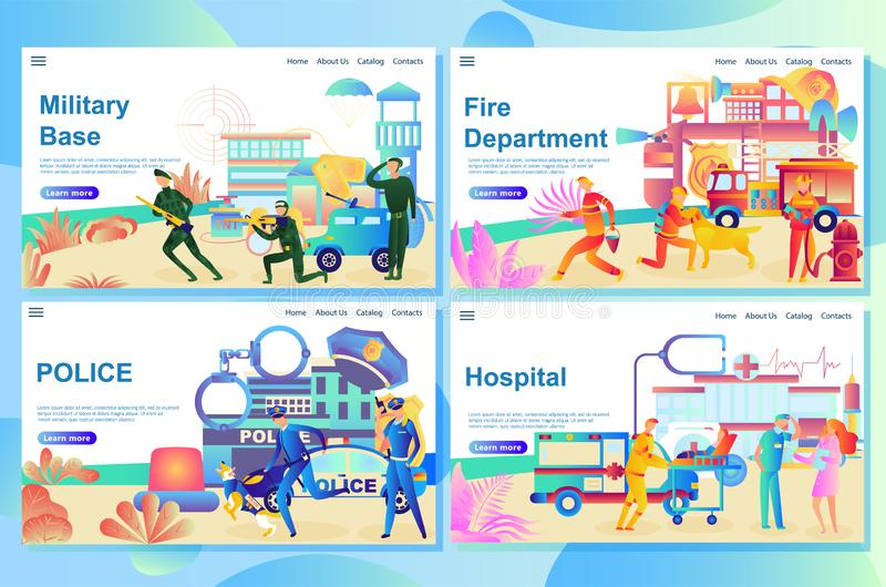 设置网页紧急情况服务大厦 医院,消防局大厦、警察局和军事基地 库存例证