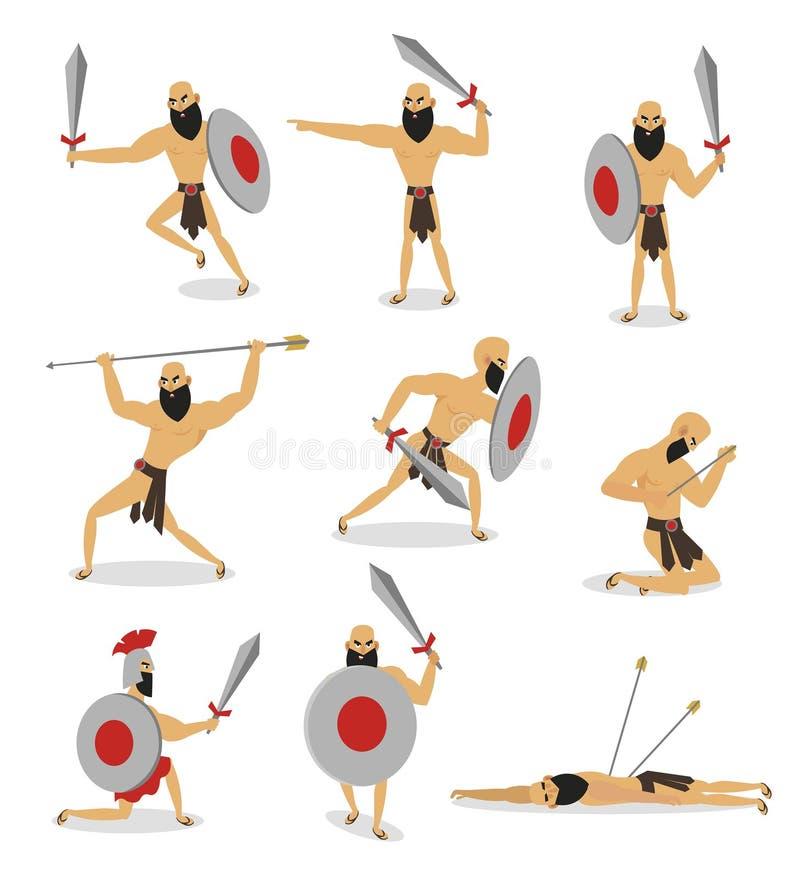 设置罗马争论者字符用不同的行动姿势 皇族释放例证