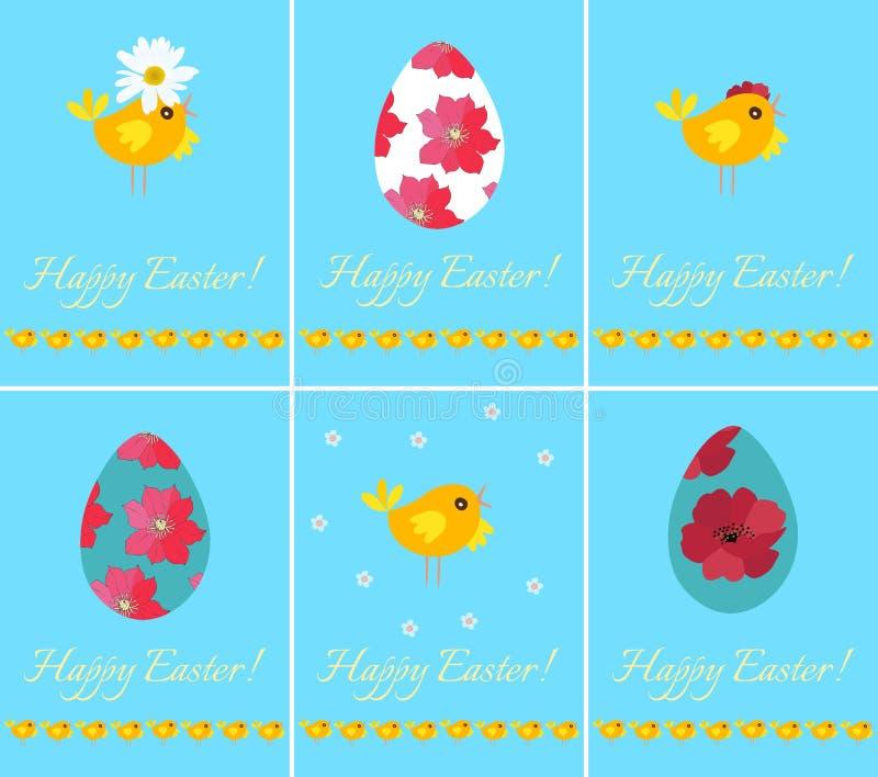 设置美丽的愉快的复活节在晴朗的蓝色背景的贺卡用鸡蛋和小鸡 春天传染媒介设计 库存例证