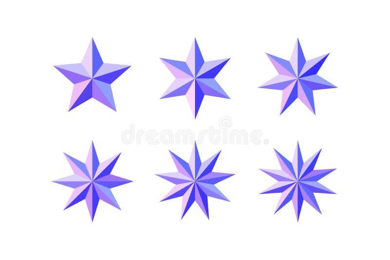 设置美丽的雕琢平面的发光的桃红色蓝星 库存例证