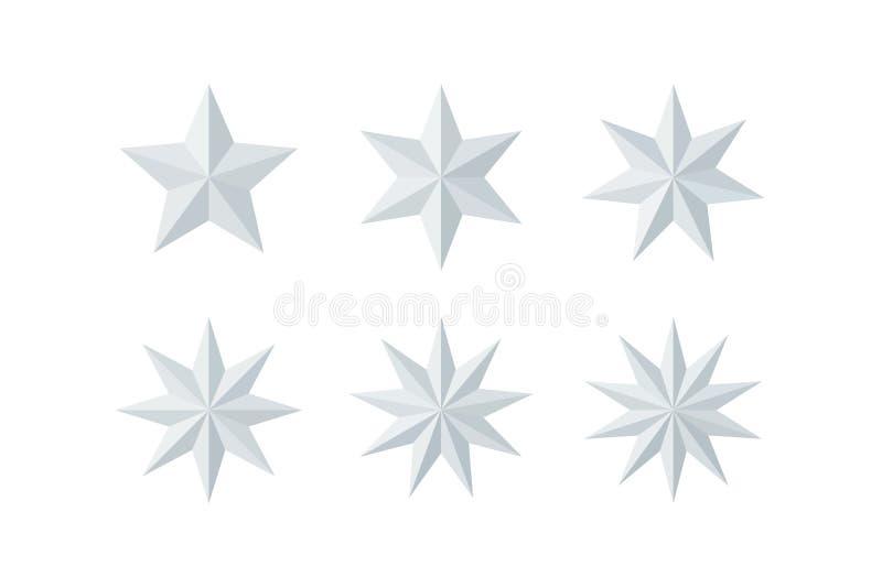 设置美丽的雕琢平面的发光的白皮书星 皇族释放例证