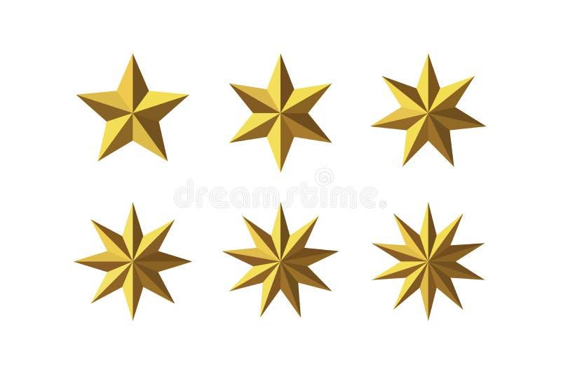 设置美丽的雕琢平面的发光的金黄金属星 库存例证