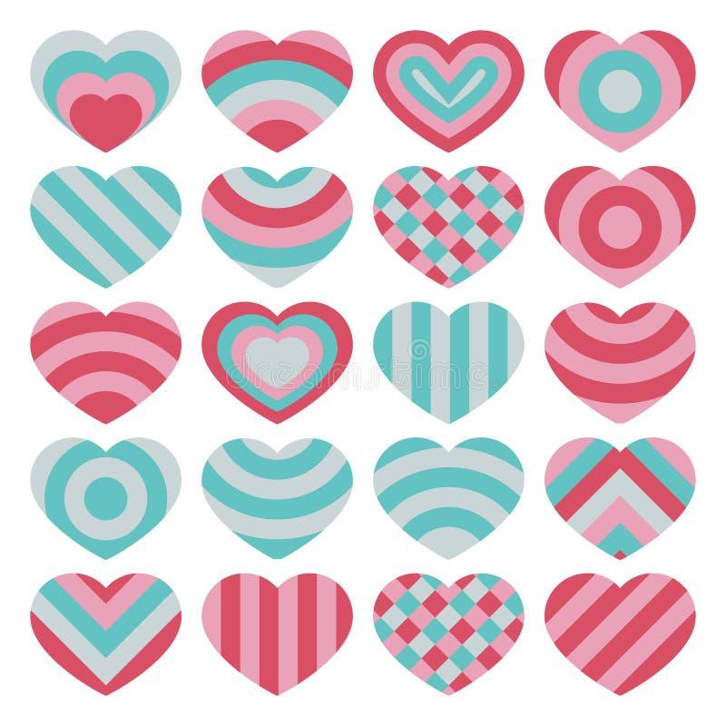 设置美好的传染媒介在白色背景的被隔绝的五颜六色的华伦泰心脏 向量例证