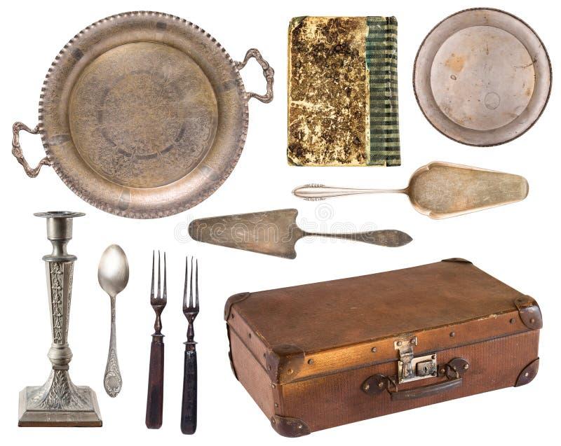 设置美好的古色古香的项目,相框,家具,银器 r r r 免版税图库摄影