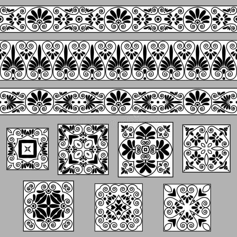 设置老希腊装饰品的汇集 古色古香的边界和瓦片在黑白颜色 库存例证