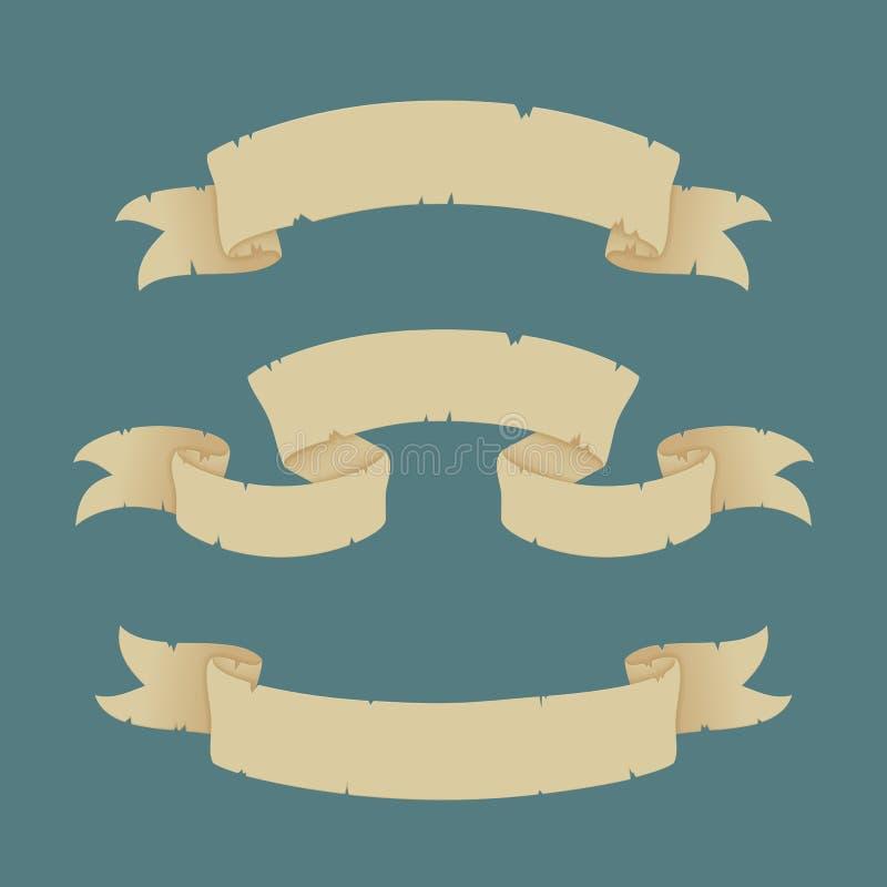 设置老纸丝带横幅 r r 皇族释放例证