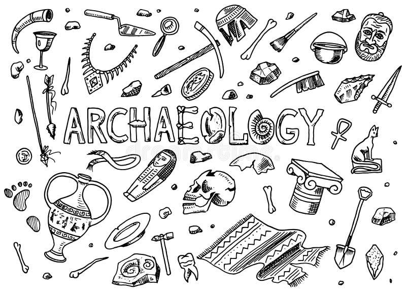 设置考古学工具,科学设备,人工制品 被挖掘的化石和古老骨头 手拉的乱画剪影 向量例证