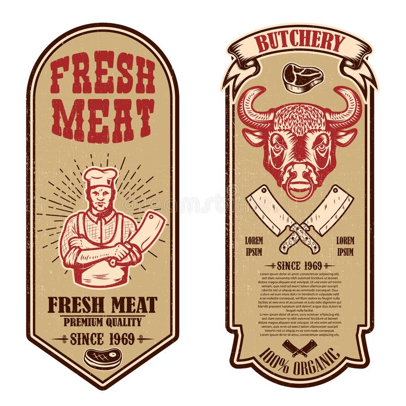 设置肉商店,肉店工作飞行物 商标的,标签,标志,横幅,海报设计元素 向量例证