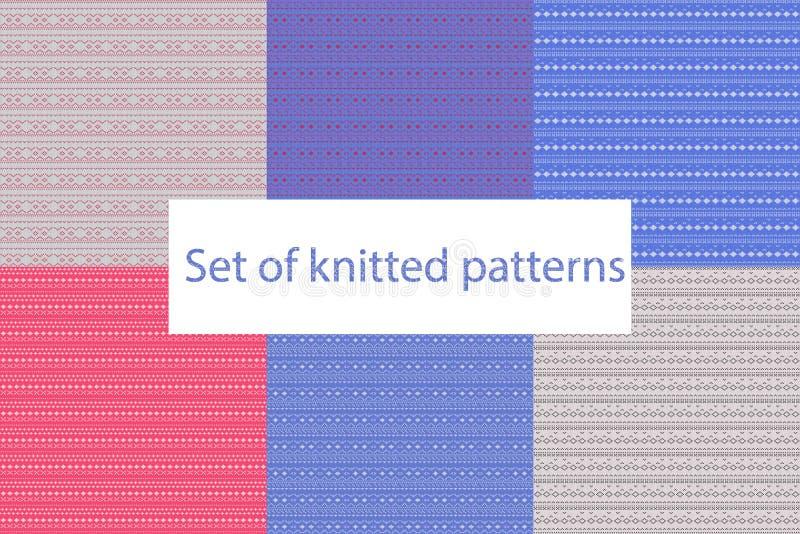 设置背景的被编织的样式,横幅和冬天衣物设计 库存例证