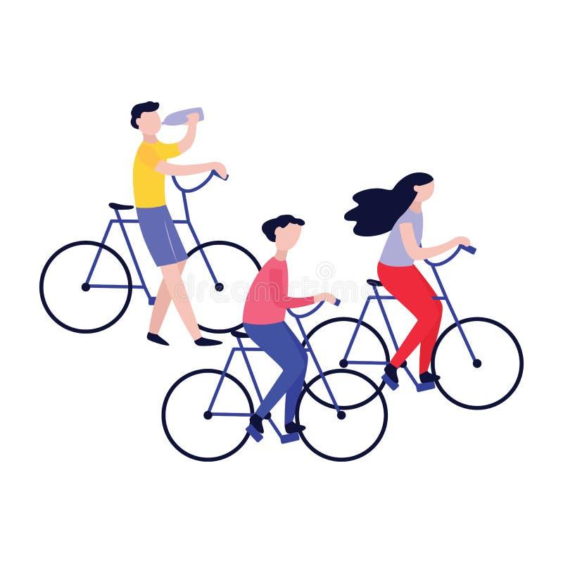 设置自行车乘驾的年轻健康人 向量例证