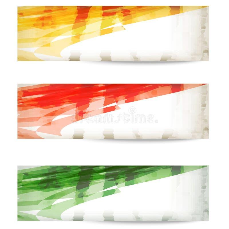 设置色的传染媒介摘要横幅 向量例证