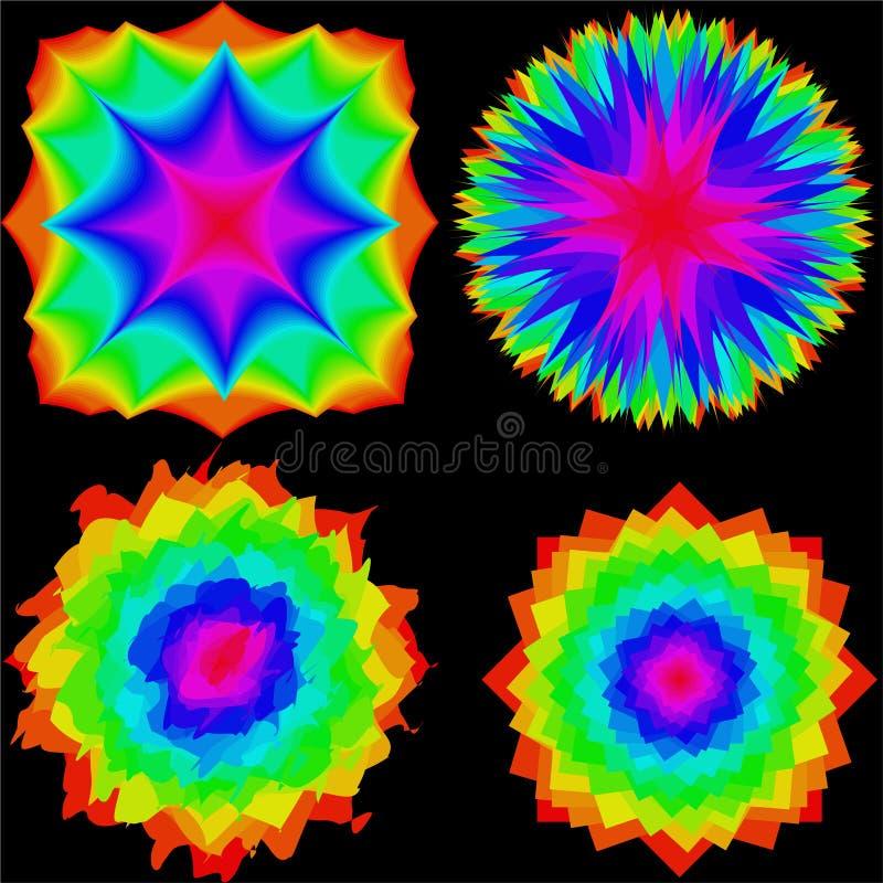 设置色的抽象污点或几何花 向量例证