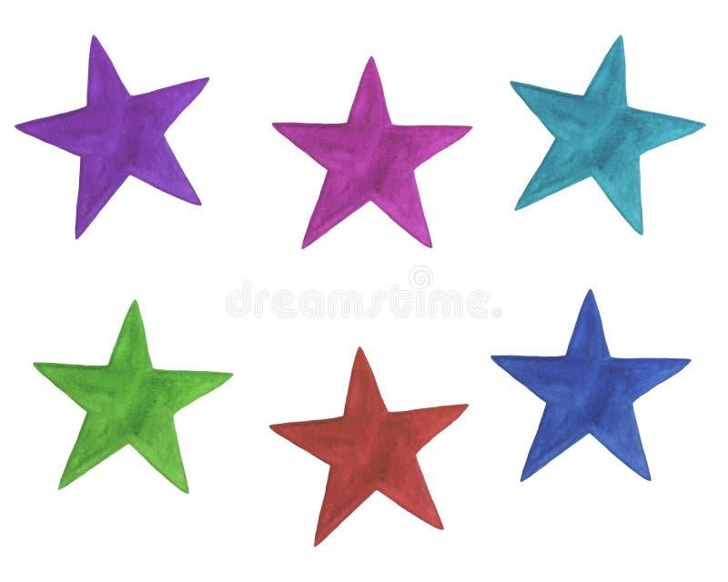 设置色的星假日生日水彩问候装饰明信片贴纸邀请 库存例证