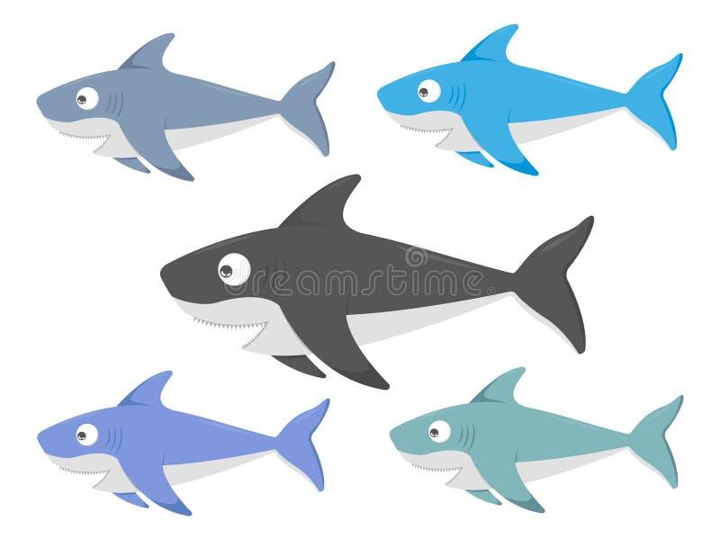 设置色的鲨鱼例证 库存例证